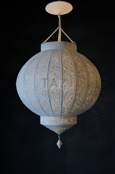 Get Moroccan Lantern White Tin Pendant  Tazi Designs Medium