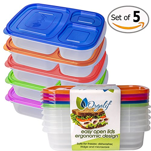 Get Orgalif Lunch Container For Kids 3comparment Reusable Medium