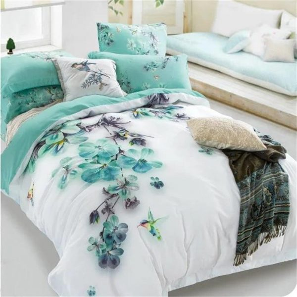 Get Pale Turquoise Floral And Bird Print Bedding Sets Queen Medium