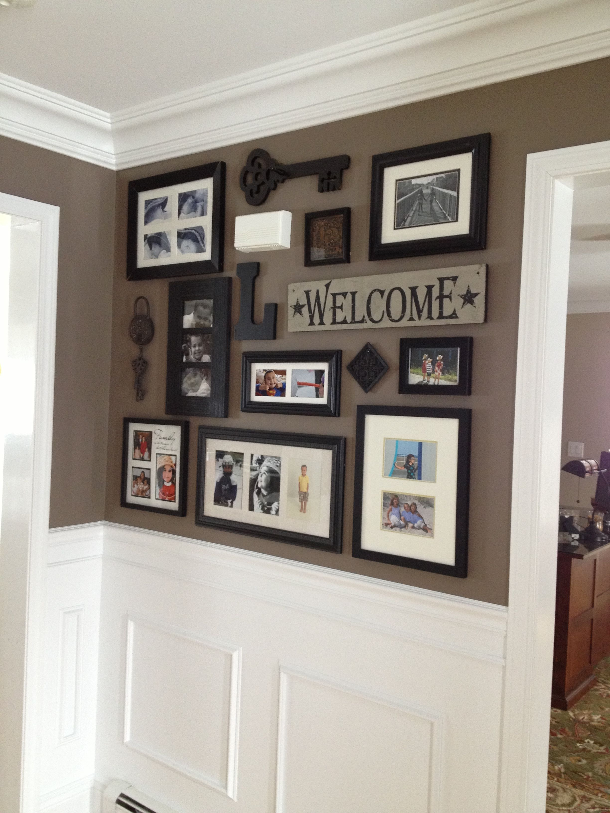 get picture collage for front entry and impressive wainscoting