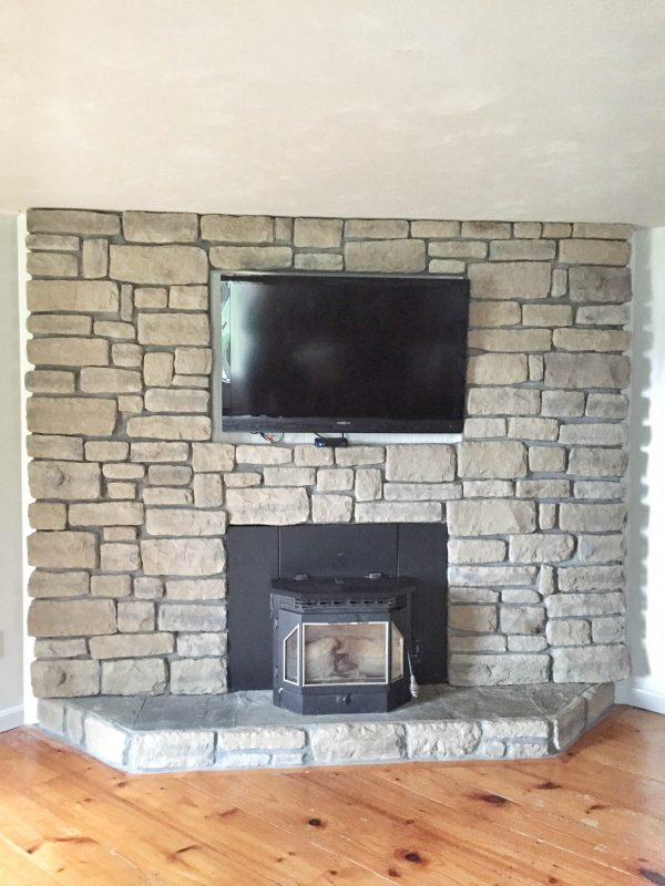 Get Refacing Brick Fireplace With Stone Veneer Beautiful Medium