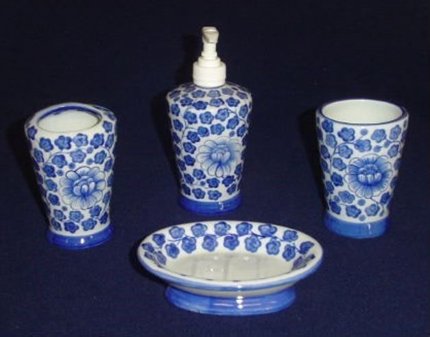get sea island bathroom accessory set in blue and white