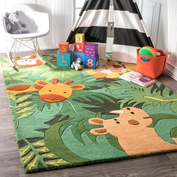 Get Shop Nuloom Handmade Kids Safari Animals Green Wool Rug Medium