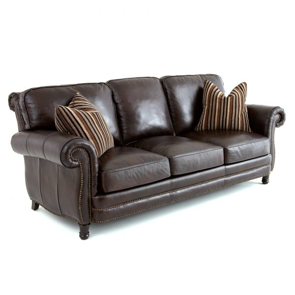 Get Steve Silver Chateau Leather Sofa With 2 Accent Pillows Medium