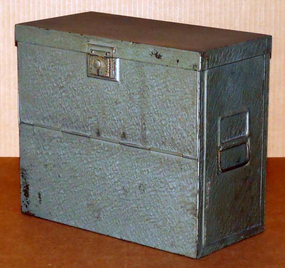 Get Vtg Metal File Box Portable Storage Letter Size Document Medium