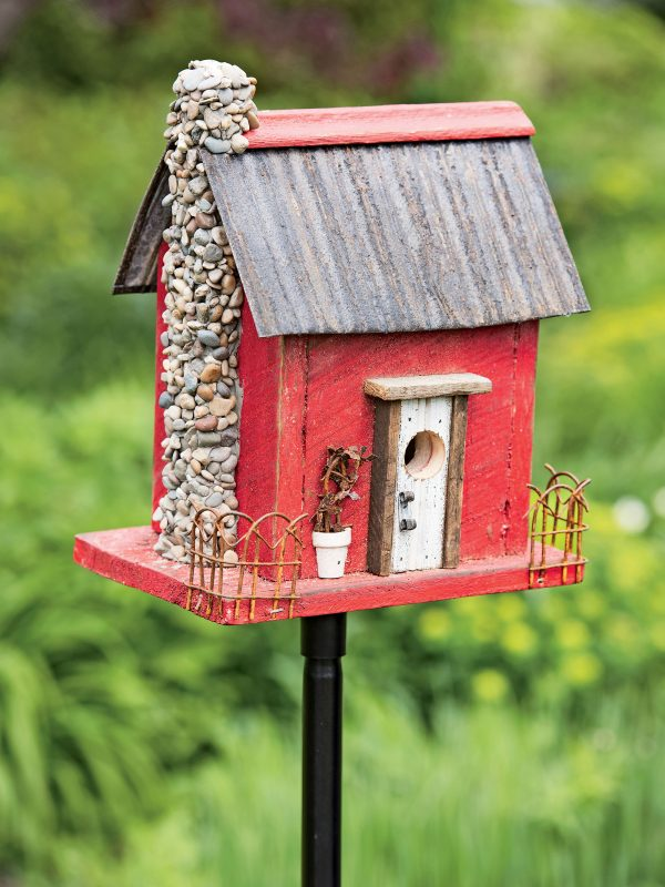 get wooden bird house red barn wood bird housegardenerscom medium