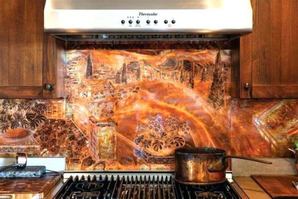 Innovative Copper Mural Backsplash Kitchen Mosaic And Metal Accent Medium