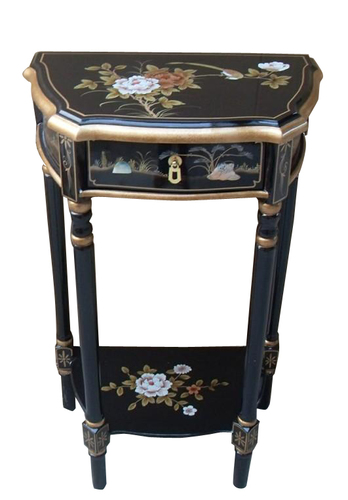Innovative End Table In Asian Hand Painted Black Lacquer For Living Medium