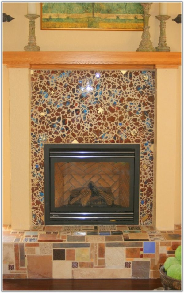 Innovative Glass Tile Fireplace Surround Ideas Tileshome Design Ideas Medium