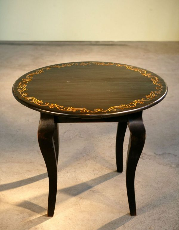 Innovative Handmade Round End Table With Hand Painted Design And Medium