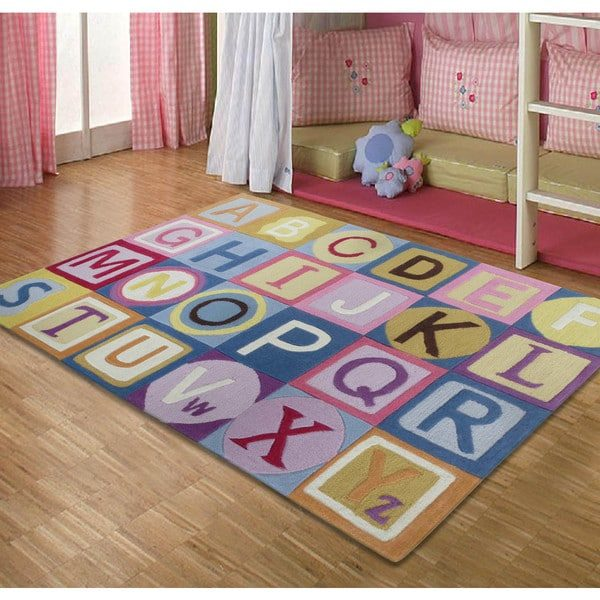 Innovative Handtufted Abc Pink Kids Rug 17720855 Overstockcom Medium