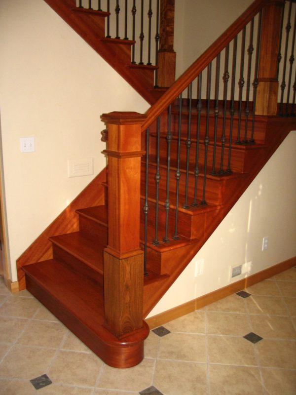 Innovative Interior Beautiful Curved Brazilian Cherry Staircase Medium