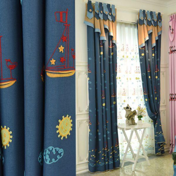 Innovative Navy Blue Custom Nautical Curtains For Boys Bedroom Medium