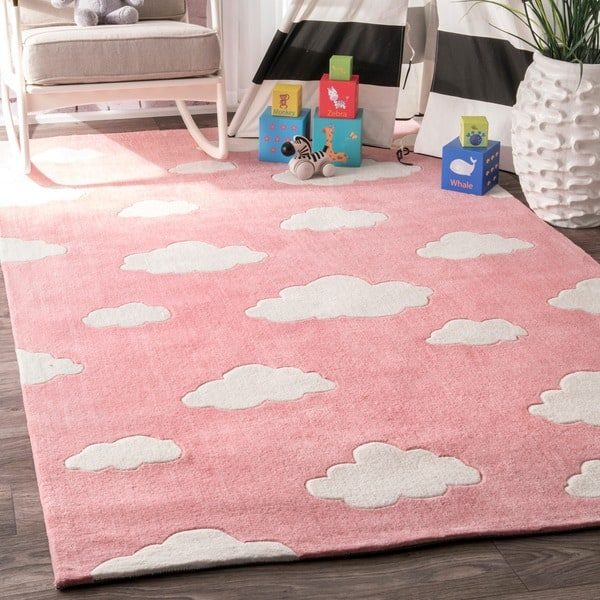 Innovative Nuloom Handmade Modern Clouds Kids Pink  Blue Rug 76 X 9
