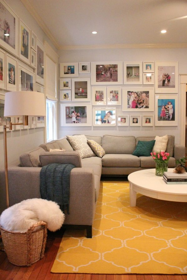 Innovative Picture Frame Collage Ideas Living Room Transitional With Medium