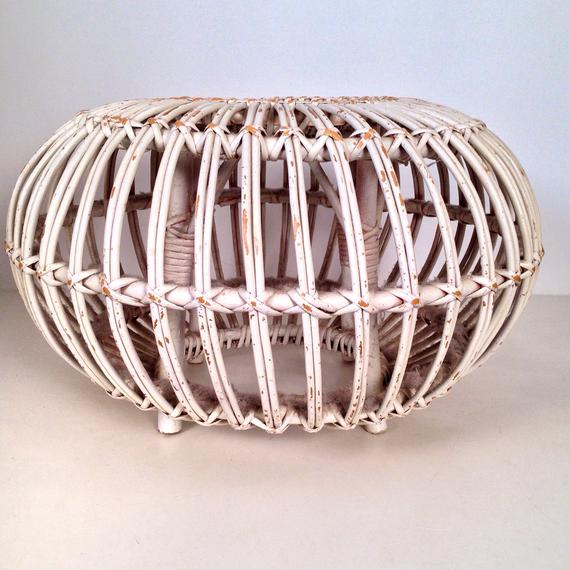 Innovative Vintage White Rattan Round Ottoman Foot Stool By Medium