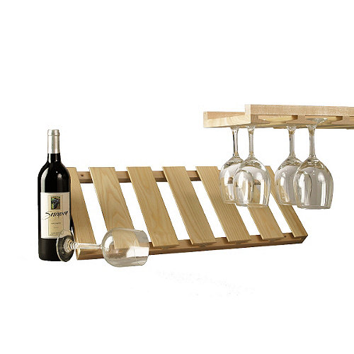 Innovative Wooden Hanging Stemware Rack Wine Enthusiast Medium