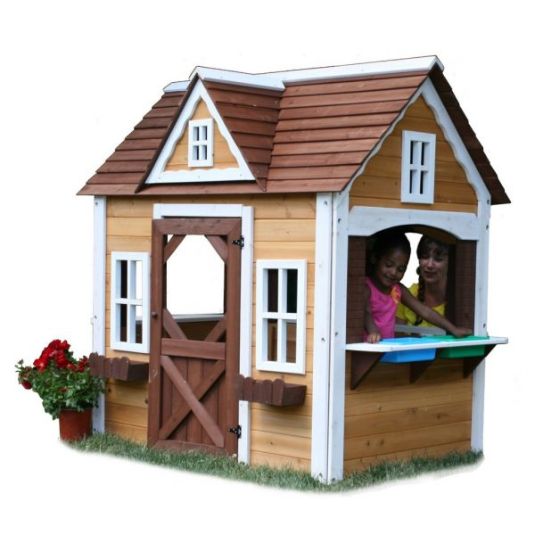 Inspiration Adorable Outdoor Wood Cottage Playhouses For Kids Medium