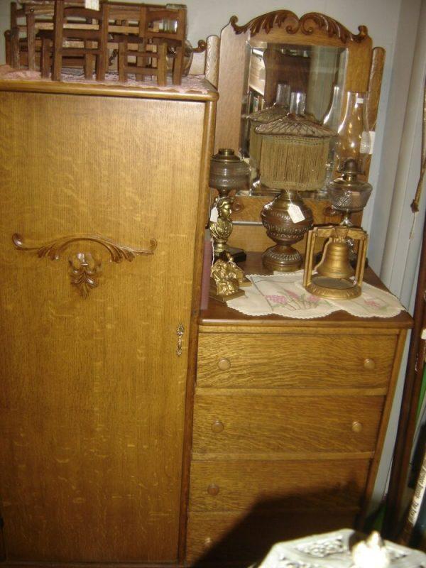 Inspiration Antique Oak Chifferobe With Rectangular Beveled Mirror Medium