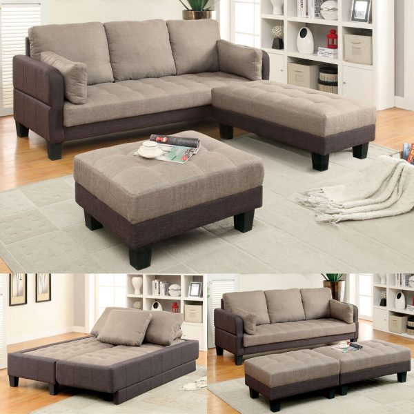 Inspiration Ghent Sectional Sofa Chaise Sleeper Bed Futon Ottomans Medium