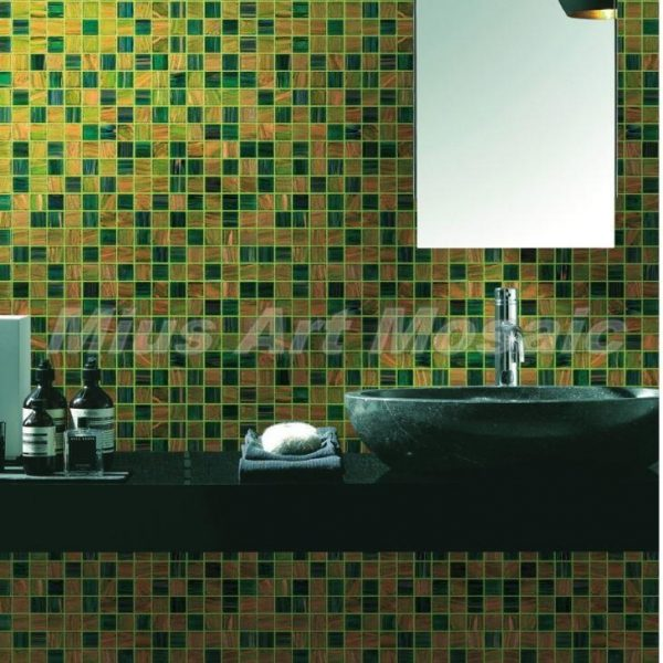 Inspiration Green Yellow Recycled Glass Mosaic Tile Bathroom Tile Medium