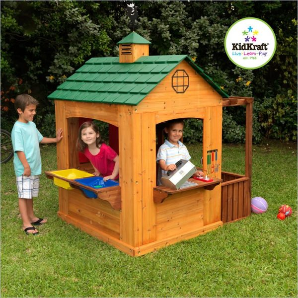 Inspiration   Kidkraft 178 Outdoor Wood Activity Playhouse For Kids Medium