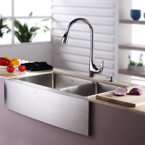 Inspiration Kraus 3288 X 2075 Farmhouse Double Bowl Kitchen Sink Medium
