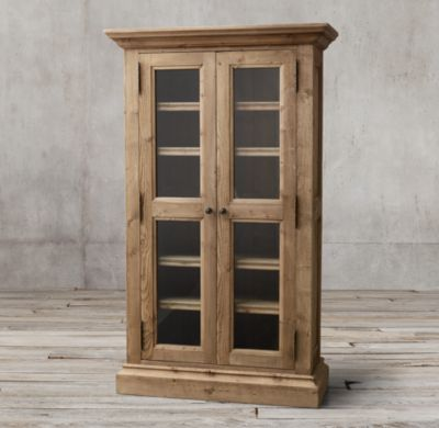Inspiration Salvaged Wood Glass Doubledoor Cabinet Medium