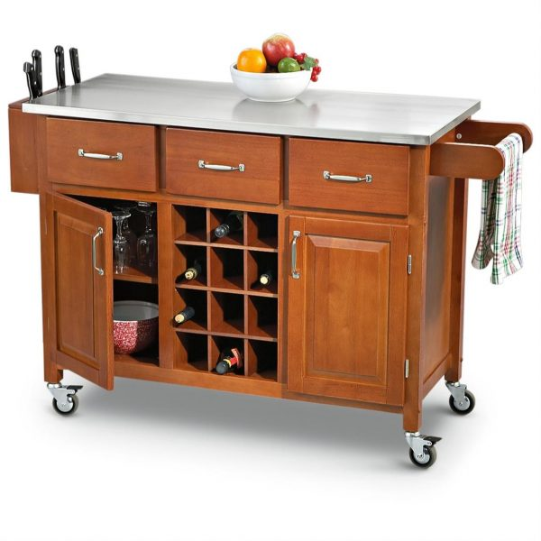 Inspiration Stainless Steel Top Rolling Kitchen Cart 203777 Medium