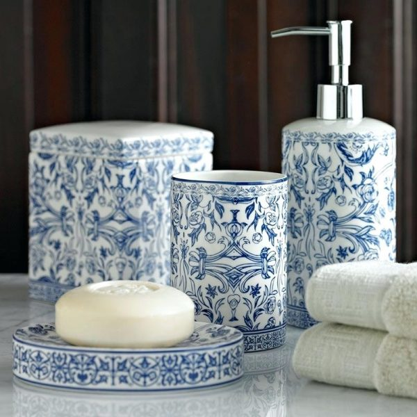 Inspirational Blue And White Bathroom Accessories  Cazarebucurestiinfo Medium