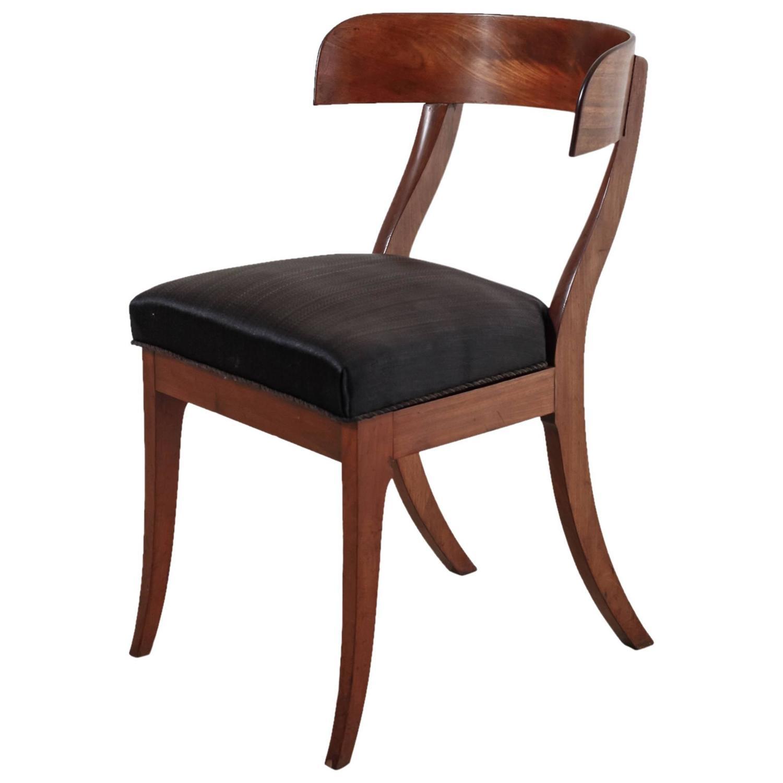 inspirational danish mahogany klismos chair with horsehair seat 19th
