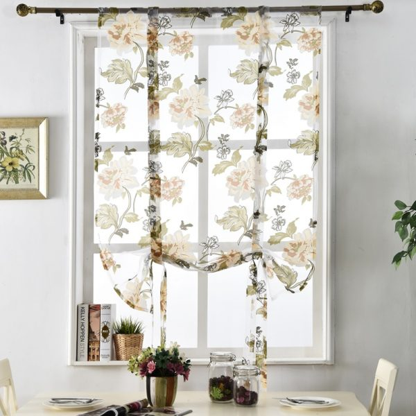 Inspirational Flower Floral Treatment Roman Short Sheer Kitchen Tulle Medium