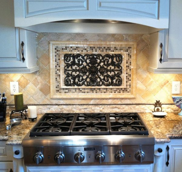 Inspirational Kitchen Backsplash Mosaic And Metal Accent Mural Medium