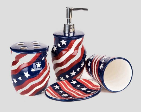 Inspirational Red White And Blue Bathroom Accessories Ideashome Medium