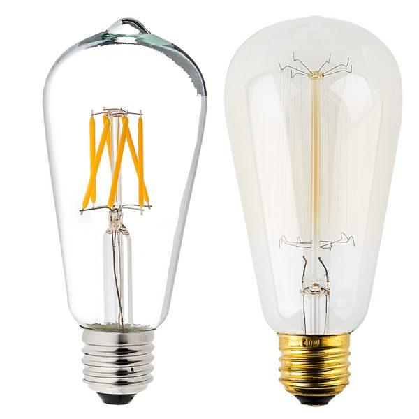 Inspirational St18 Led Filament Bulb 55 Watt Equivalent Vintage Light Medium