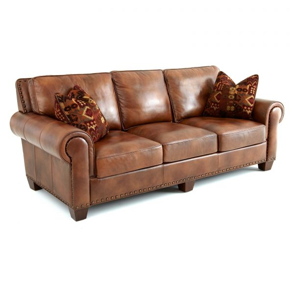 Inspirational Steve Silver Silverado Leather Sofa With 2 Accent Pillows Medium
