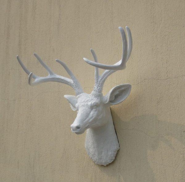 Inspirational White Faux Deer Head Resin Deer Head Wall Decor Wall Medium