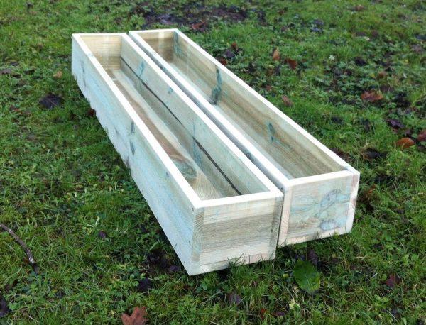 Looking 2 X Handmade Large Wooden Garden Planter Window Box Medium