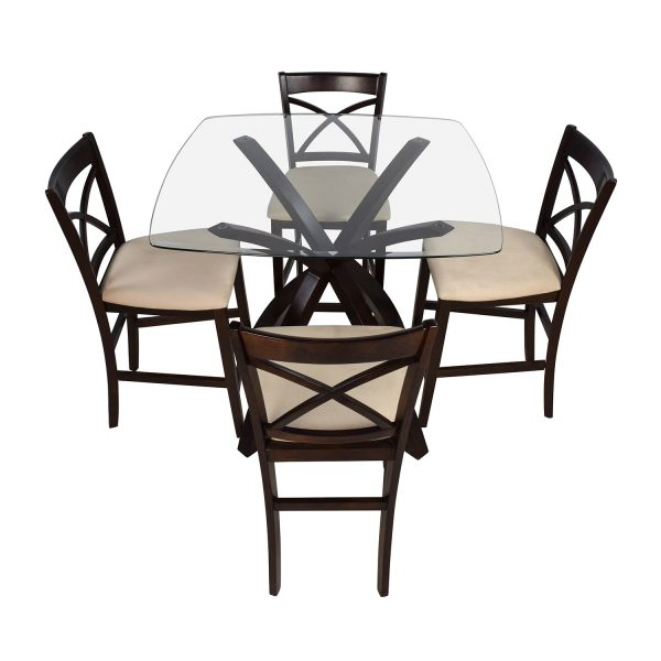 Looking 53  Off Counter Height Glass And Wood Table With Four Medium