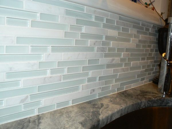 Looking Awesome Beach Glass Backsplash With Various Patterns Medium