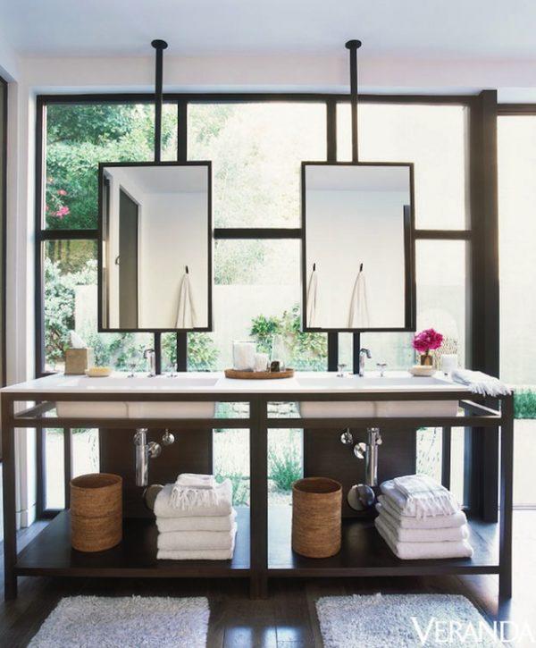 Looking Bathroom Vanity In Front Of Window Contemporary Medium