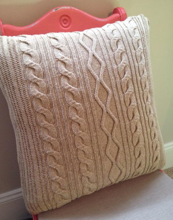 Looking Cable Knit Fisherman Sweater Pillow Cover Beige By Medium