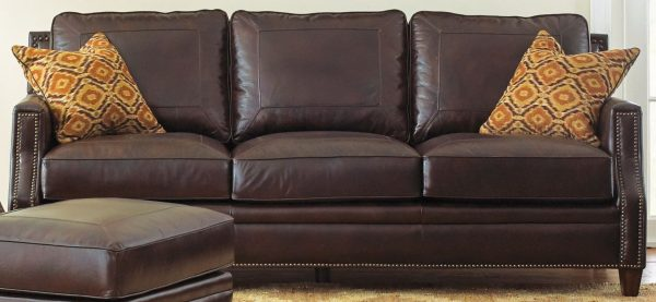 Looking Caldwell Leather Sofa With 2 Accent Pillows From Steve Medium