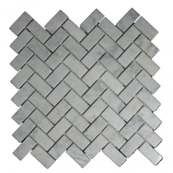 Looking Interior Inspiring White Marble Herringbone Tile Layout Medium
