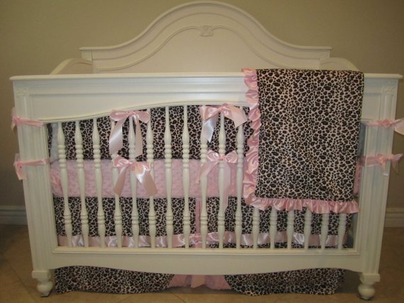 looking items similar to pink leopard baby bedding 4 piece set on etsy