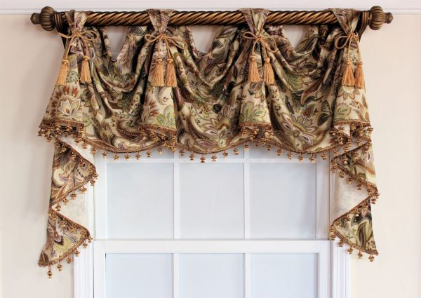 Looking Jacobean Victory Valance Swag With Or Without Tassel Trim And Medium