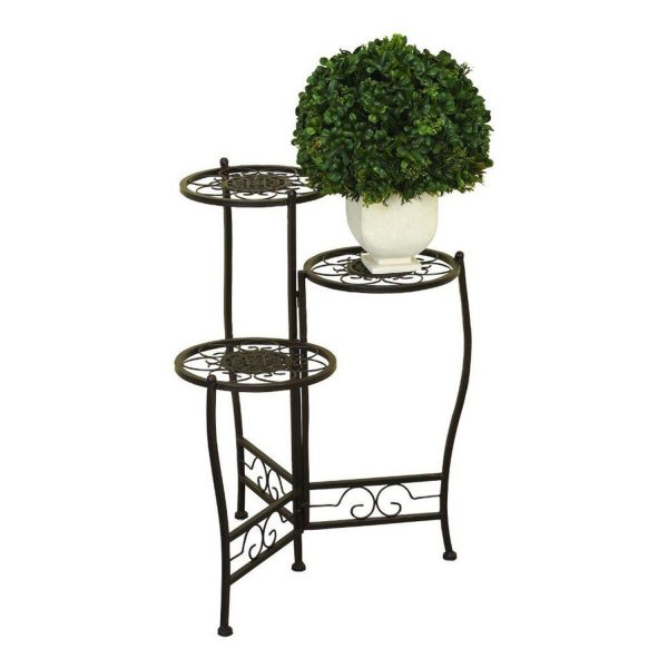 Looking Nesting Plant Stand 3 Tier Iron Black Flower Home Decor Medium