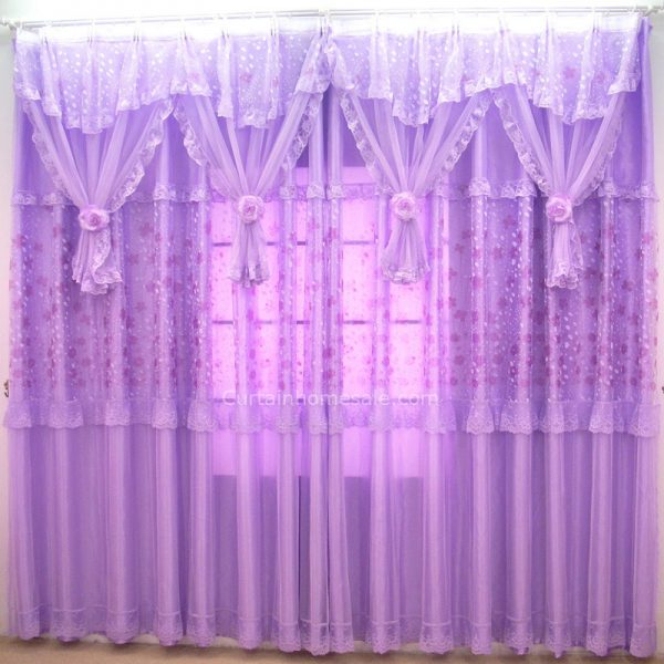 looking Romantic Purple Sheer Curtain For Girls Room Without Valance