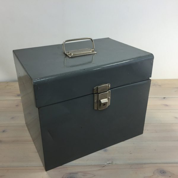Looking Vintage File Lock Box Gray Metal File Storage Medium