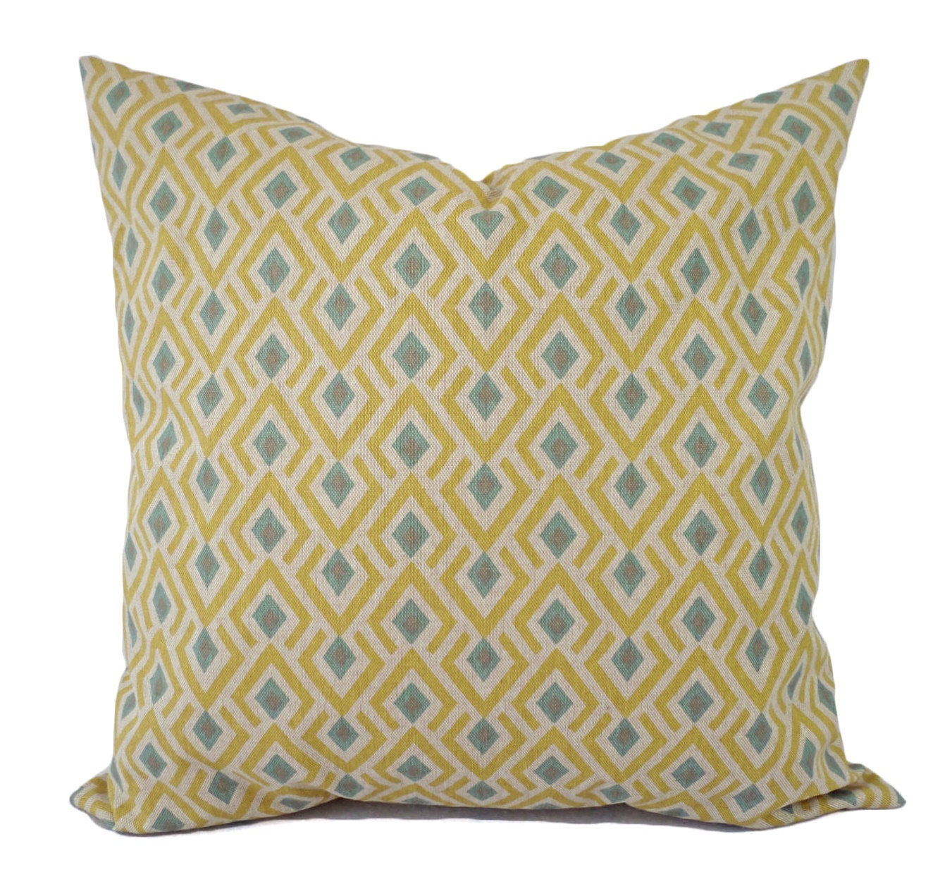 looking yellow and blue decorative pillow covers two geometric throw